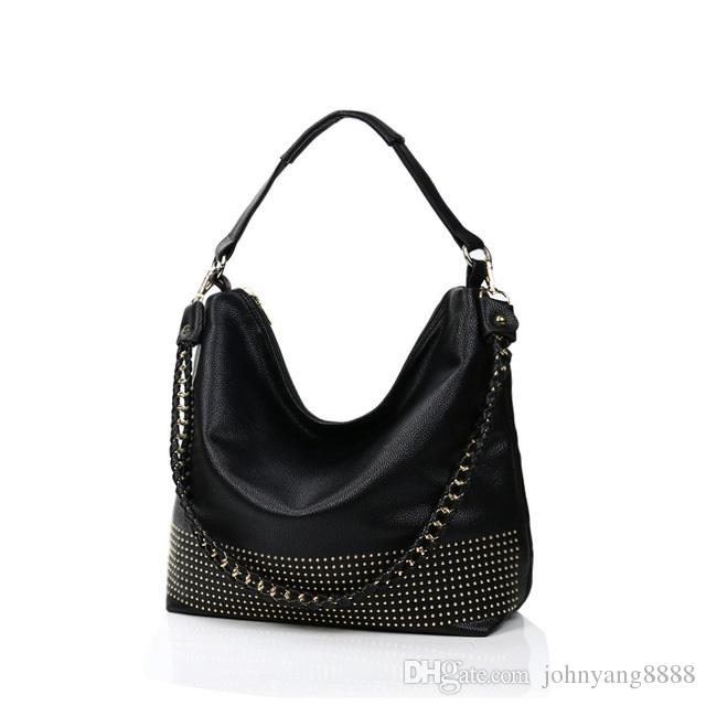 Famous Brand 2018 New Hobos Women Bags Rivet Female Handbags ... 26d02248ec778