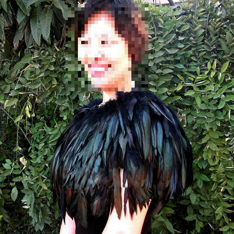 New Hand Made Feather Cape Shawl Scarf Performance Dress Costume Halloween Party Fancy Dress Fashion Costume S M L