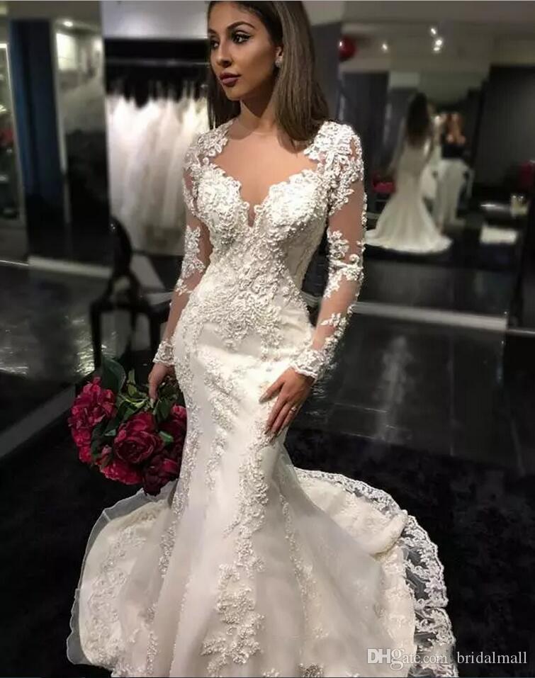 얇은 목 긴 소매 레이스 인어 웨딩 드레스 우아한 버튼 위로 아플리케 진주 얇은 명주 그물 웨딩 드레스 신부 드레스 로브 드 Mariage