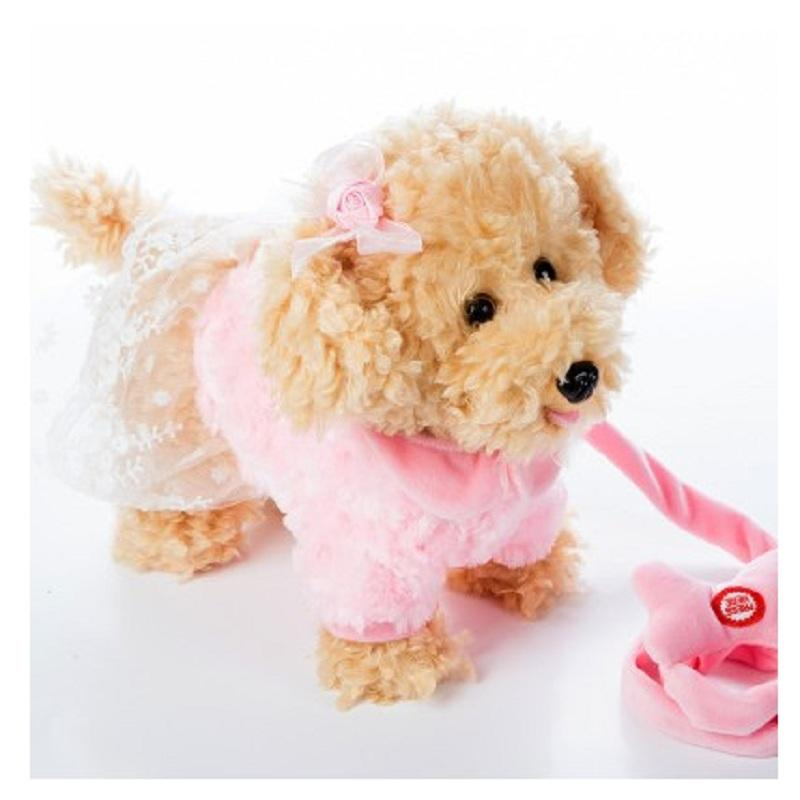 Electric Leash Dog Miss Teddy Plush Toys Music Machinery Remote