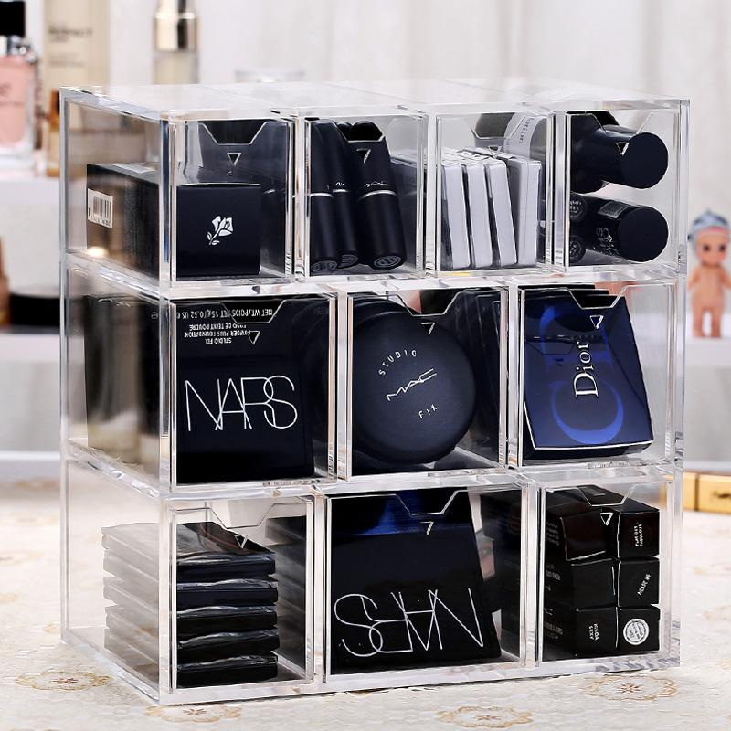 2019 Acrylic Clear Makeup Organizer Box 10 Grids Large Capacity Cosmetic Makeup Storage Drawers Organizer Box Jewelry Storage Case From Gor2don, ...