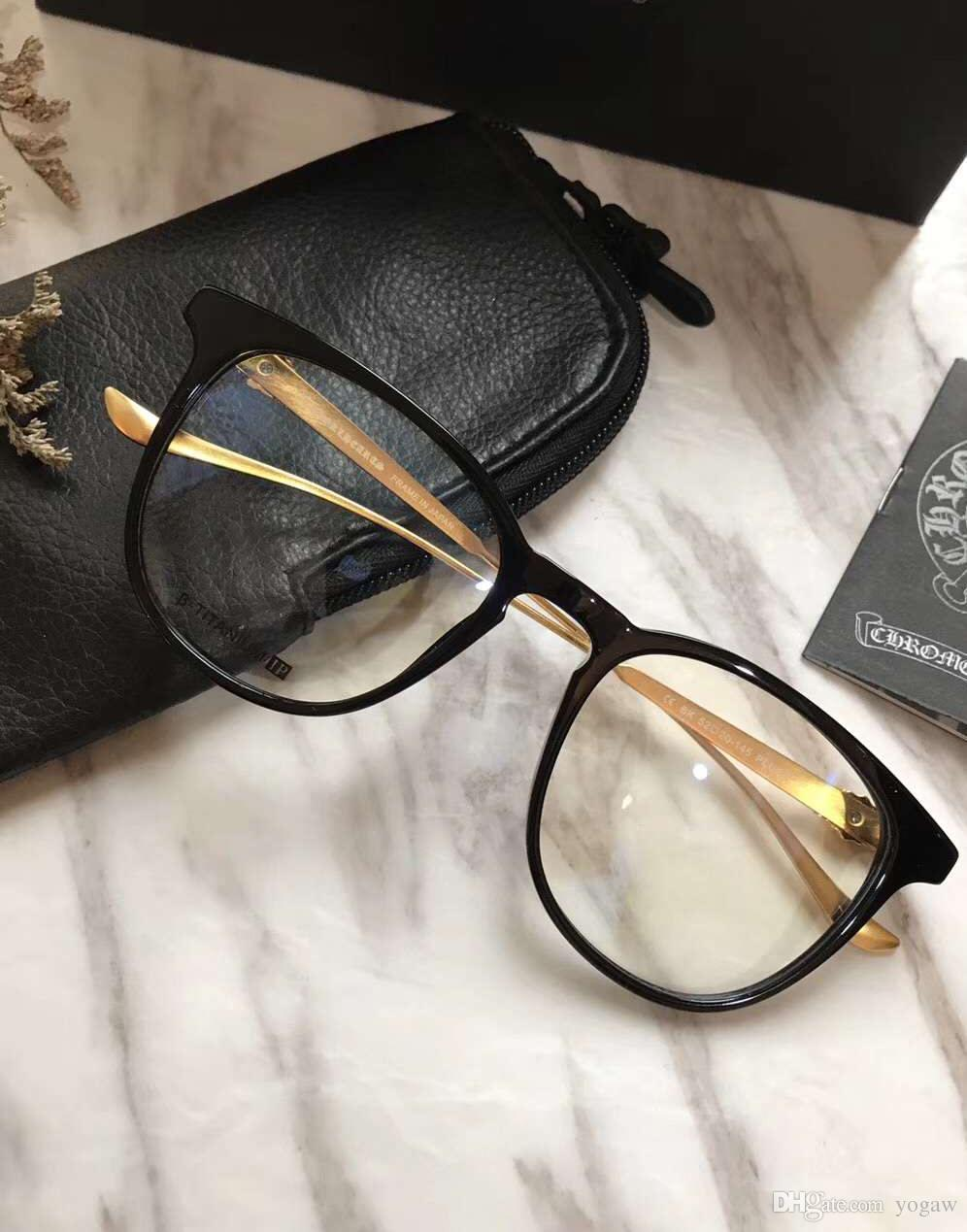 27ec6ff6dc87 2019 Mens Chrome Pluck Black Gold Eyeglasses Frame Glasses 52mm Fashion  Beautiful Optical Eyewear New With Box From Yogaw, $60.92 | DHgate.Com