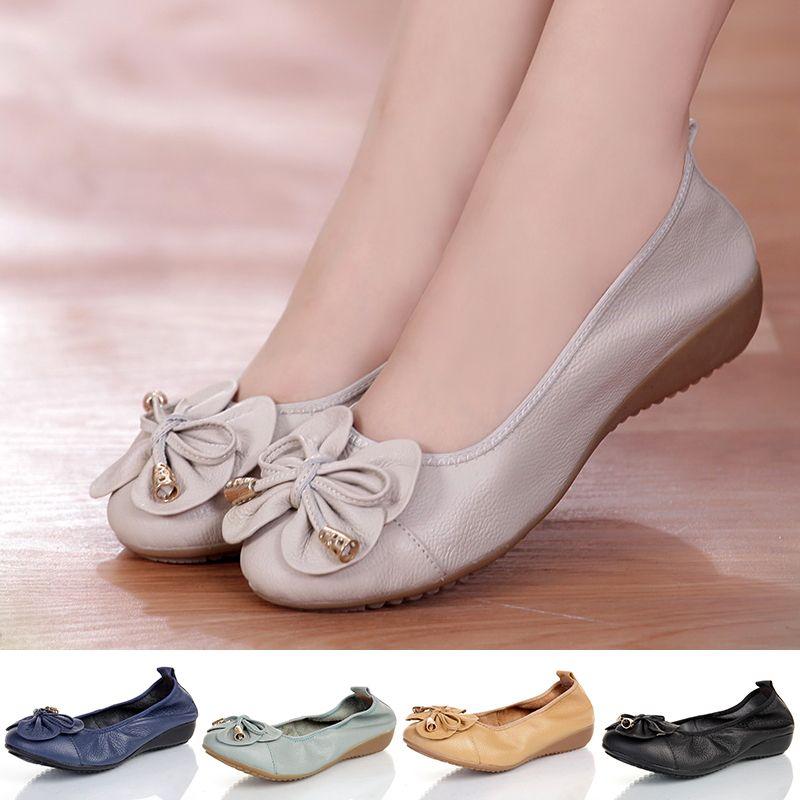 f732d4bdcff2 Acheter Grande Taille 35 42 Chaussures Pour Femmes. Chaussures Plates En  Cuir Véritable. Mocassins Pour Femme. 2018 Nouvelle Mode