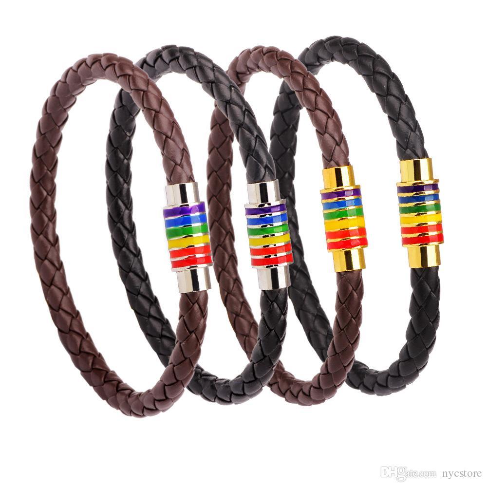 Pulsera de cuero del encanto de la joyería del arco iris de los hombres Pulsera de orgullo del acero inoxidable para el día de fiesta gay