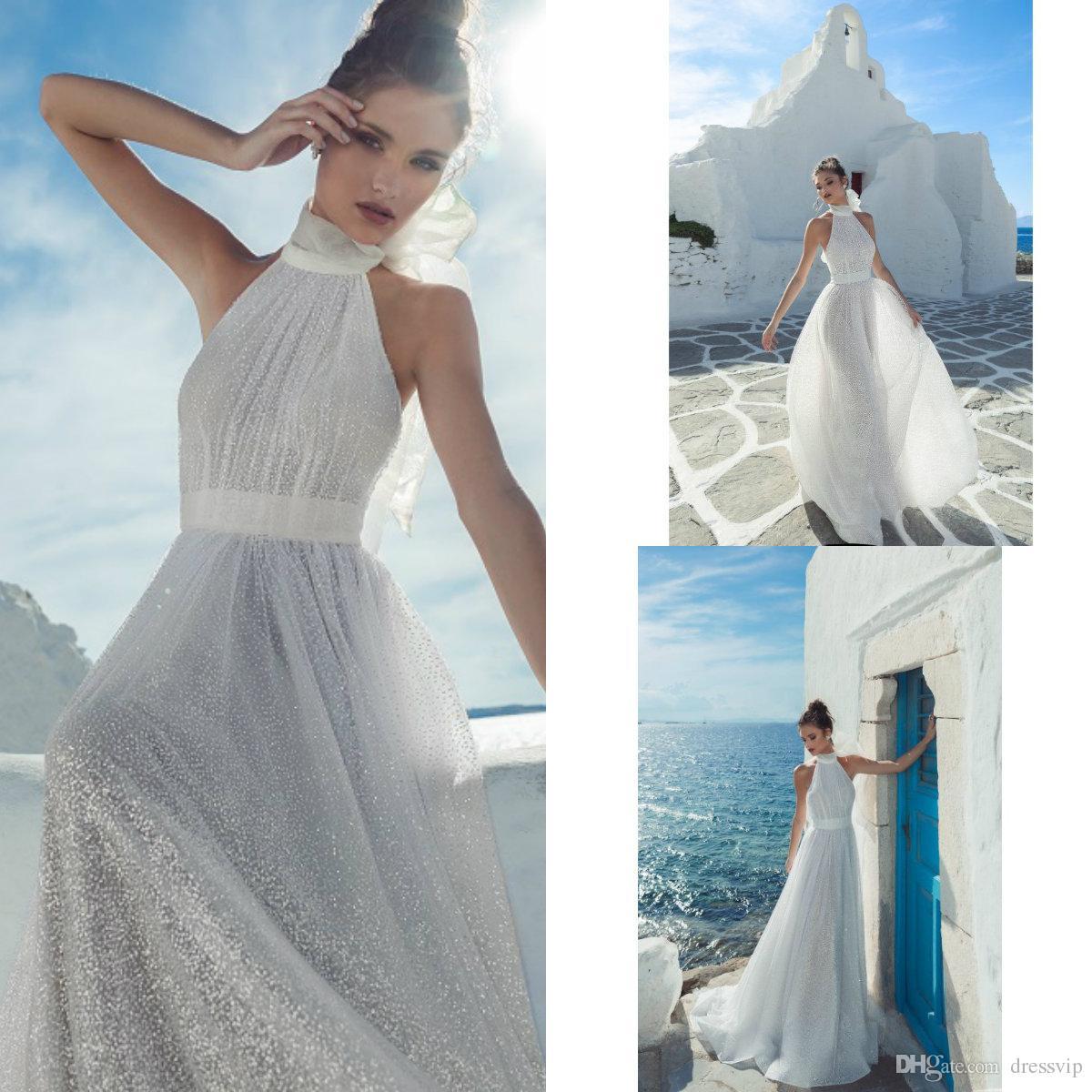 1868a5cdf5 Discount 2019 Julie Vino Beach Wedding Dresses Halter Glitter Spark A Line  Sleeveless Boho Bohemian Wedding Dress Custom Made Bridal Gowns Wedding  Dress Es ...