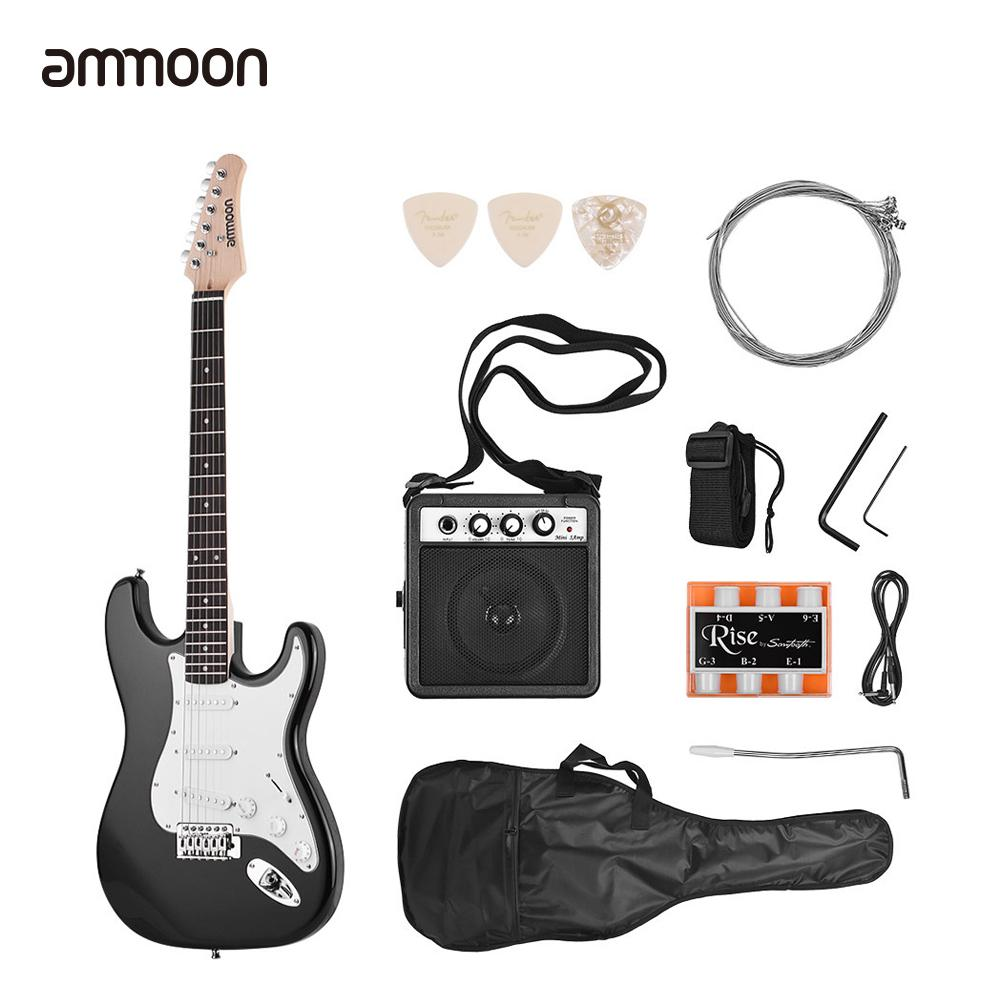 Ammoon 21 Frets 6 Strings Electric Guitar Solid Wood Paulownia Body Maple  Neck With Speaker Necessary Guitar Parts &Accessories