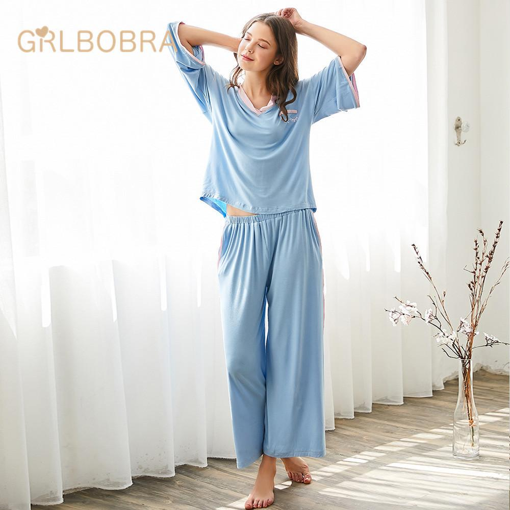 6b3090c69b 2019 Women S Pajama Set Sweet V Neck Long Sleeve Brief Casual Comfy Home  Suit From Clothwelldone
