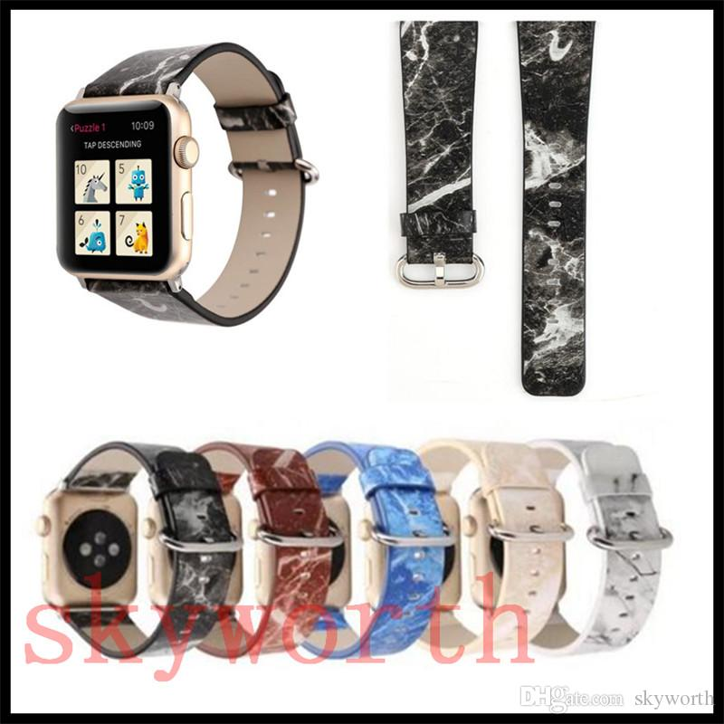 9eadfb9ca2e For Apple Watch 4 3 2 1 Strap Bands Genuine Real Leather Straps Granite  Marble Patter Band 38 42mm 40 44mm Bracelets Strap Leather Watches With  Leather ...