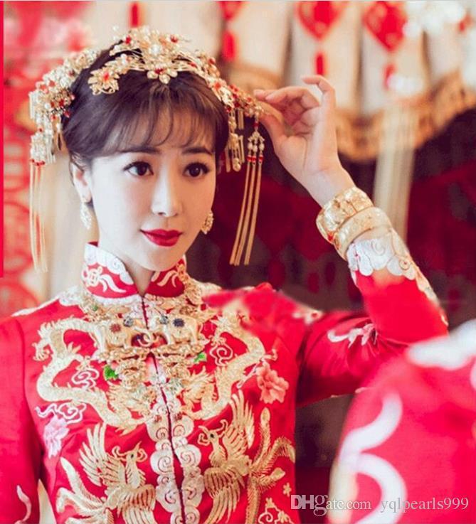 Costume de mariée, mariage chinois, herbes, ornements de tête, mariage et toasts