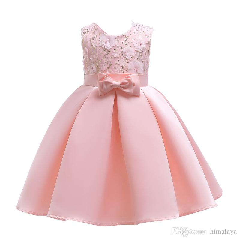 28ef8f8bf Compre 2018 Niños Rebordear Las Flores Rosadas Vestidos De Princesa Ropa De Fiesta  Para Niños Niñas Bebé Vestido Elegante De La Boda Del Niño Vestido De ...