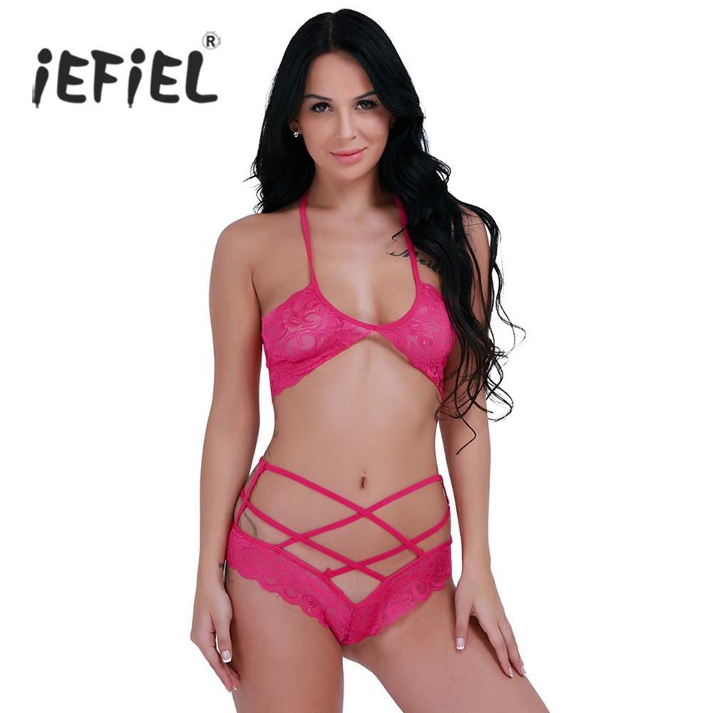 e091b44ae3b 2019 Women S Intimates Bra Brief Sets IEFiEL Rose Hot Pink Sexy Womens  Lingerie Lace Halter Bra With G String Underwear Set Brief Sets From  App003