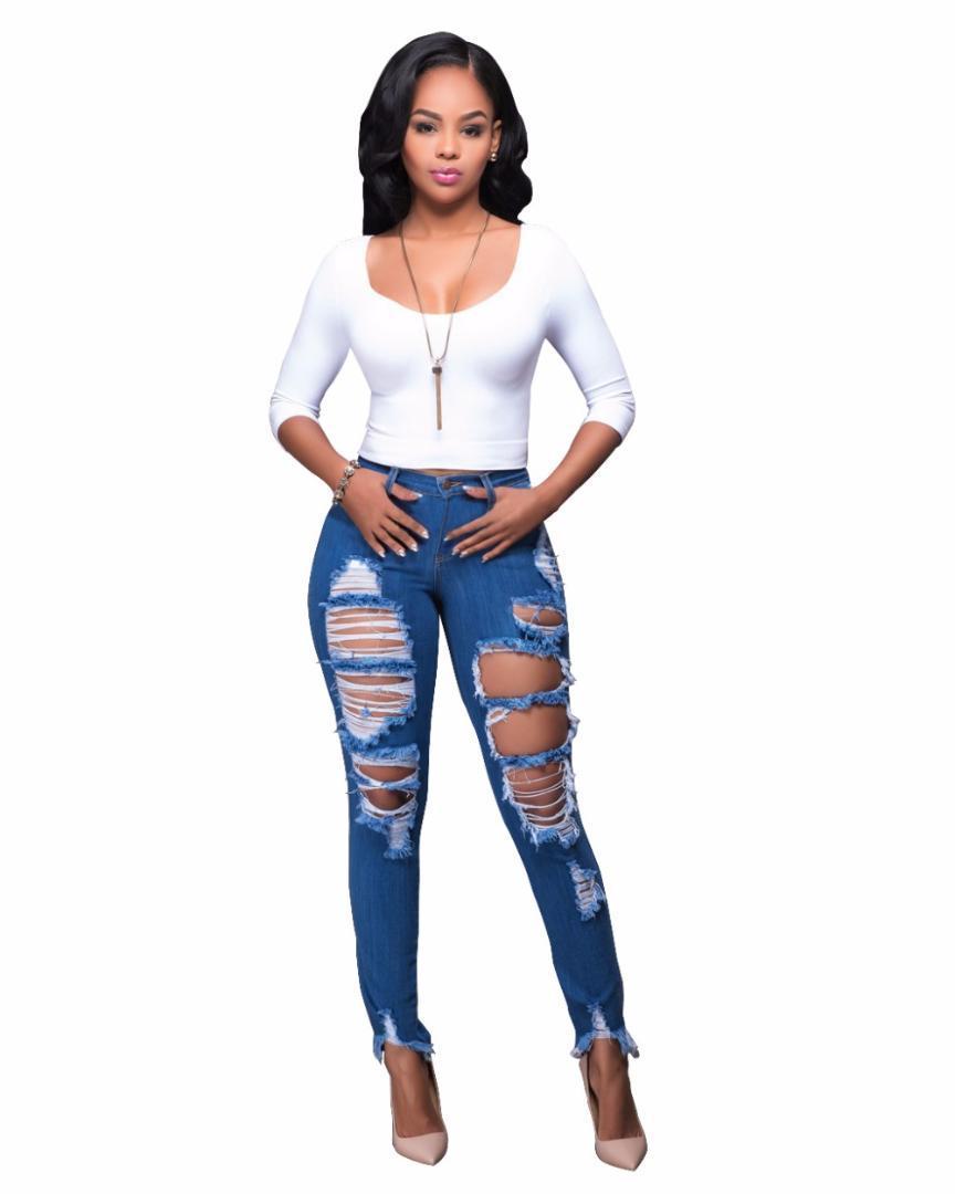 c62edbd10ed 2019 Destroyed Wash Denim Tassel Ripped Sculpt Skinny Jeans High Waist  Broken Slim Butt Lifting Women Jeans Fashion Plus Size From Beautyjewly