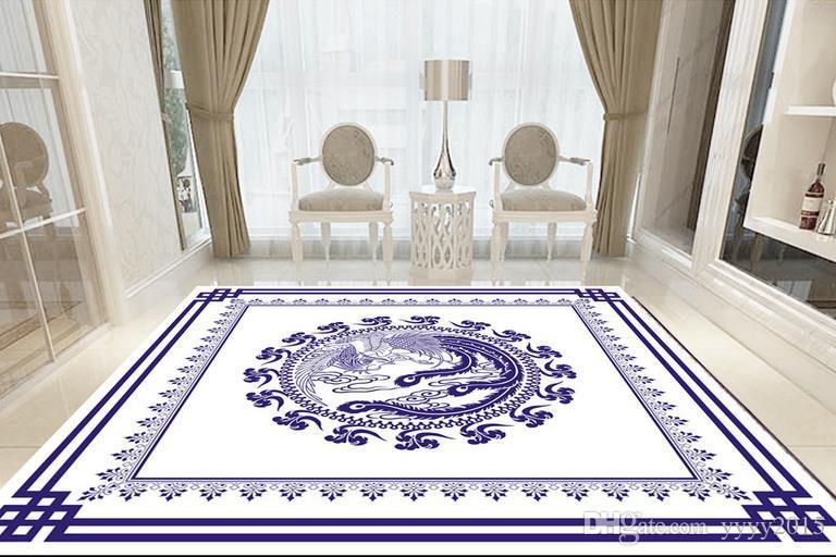 pavimento in vinile bagno Tappeto vettoriale modello pavimento in parquet in stile cinese soffitto europeo 3d pavimento dipinto