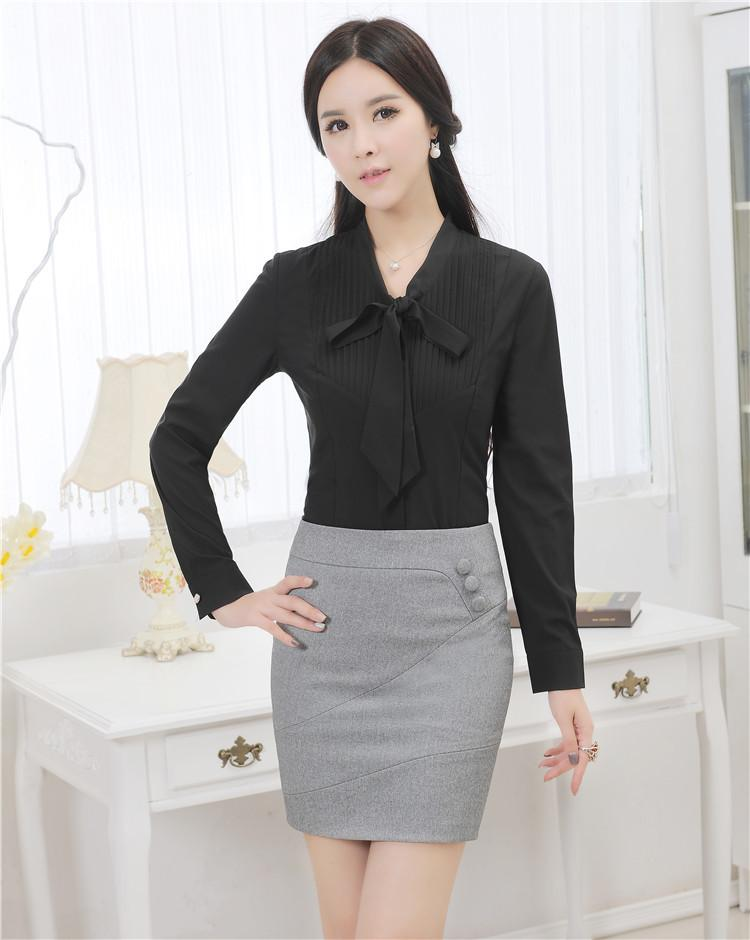 2019 Novelty Black Slim Fashion 2015 Spring Autumn Women Work Suits With  Blouse And Skirt Formal Uniforms Skirt Suits Office Sets From Benedica 29b8664aab4a