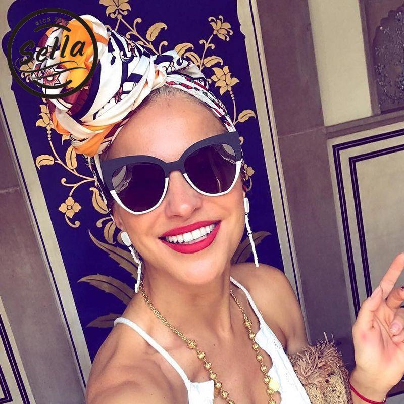 911b3aa63af Sella 2018 New Arrival Fashion Women Oversized Cateye Sunglasses Brand  Designer Trending Stitching Colors Fisher Sun Glasses D18102304 Sunglasses  Sale Kids ...