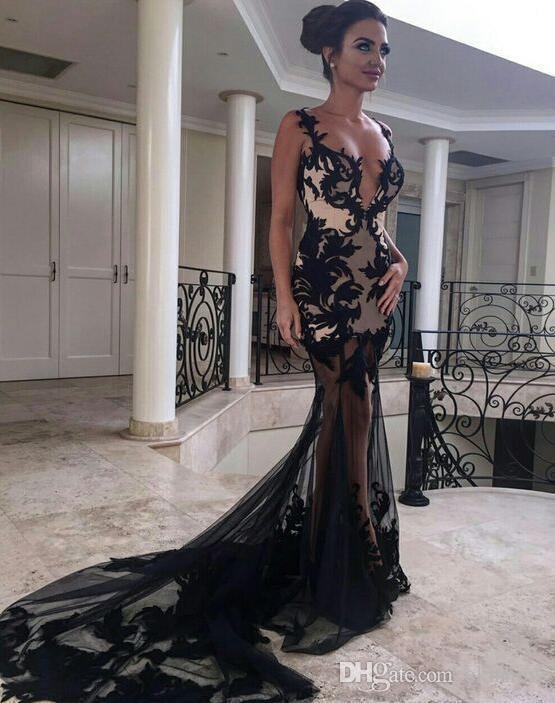 2018 Illuison nero profondo scollo a V pizzo applique abiti da sera sirena sexy backless senza spalline lunghi corte corte Dubai abiti del partito