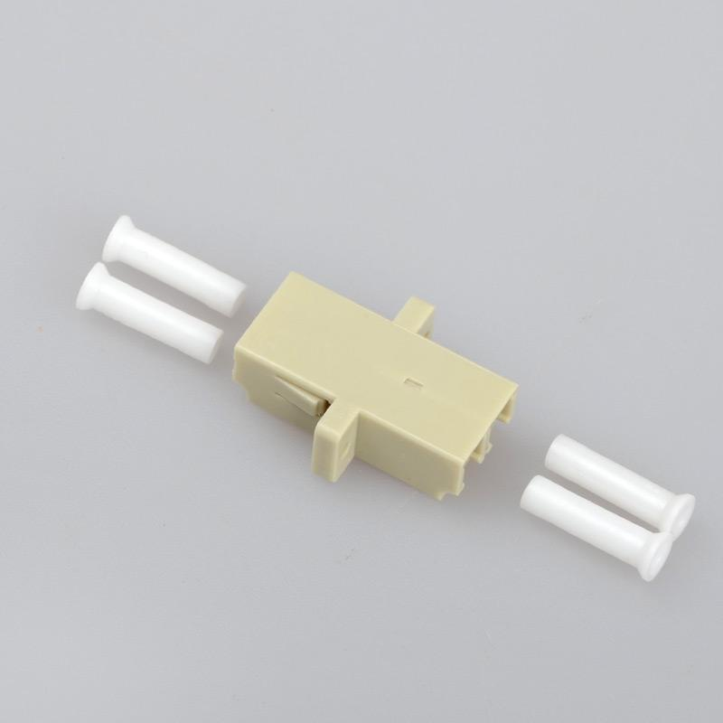 10PCS/bag LC to LC Duplex mode Fiber optic Adapter multimode Beige Optical  fiber coupler flange connector