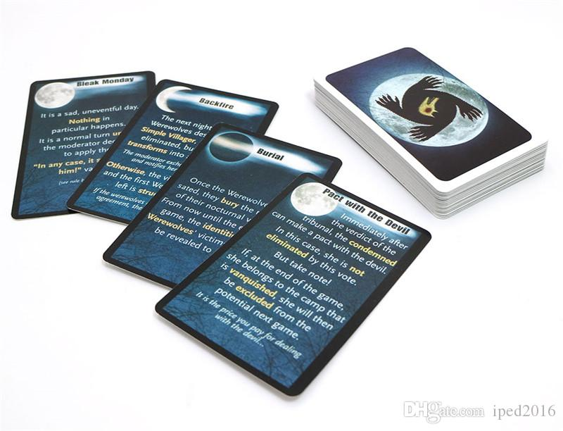 2018 card game werewolf game with English rules for new family fun board games