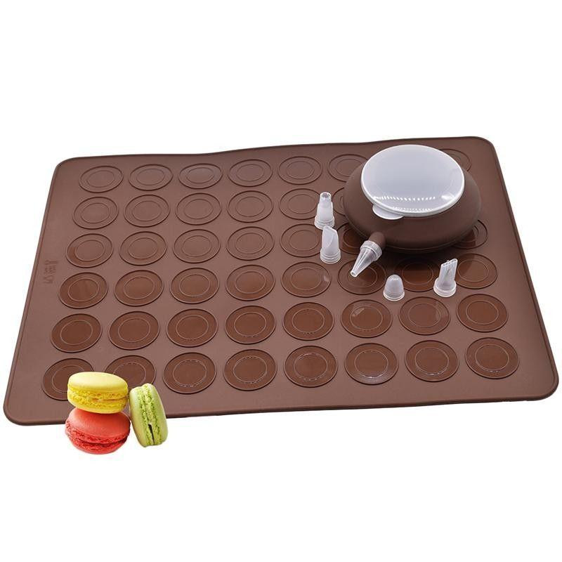 38 * 28 cm 48 hoyos Macarons Esteras de silicona y juego de boquillas para decorar postres Horno Pan Pad Molde Para hornear Herramientas para hornear