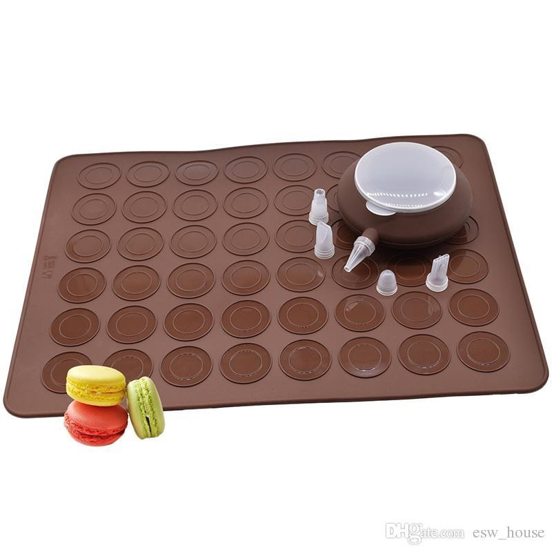 Macarons Mould Silicone Mats and Dessert Decorating Boquilla Set 48 agujeros Oven Pan Pad Molde Utensilios para hornear Hornear herramientas Envío gratis