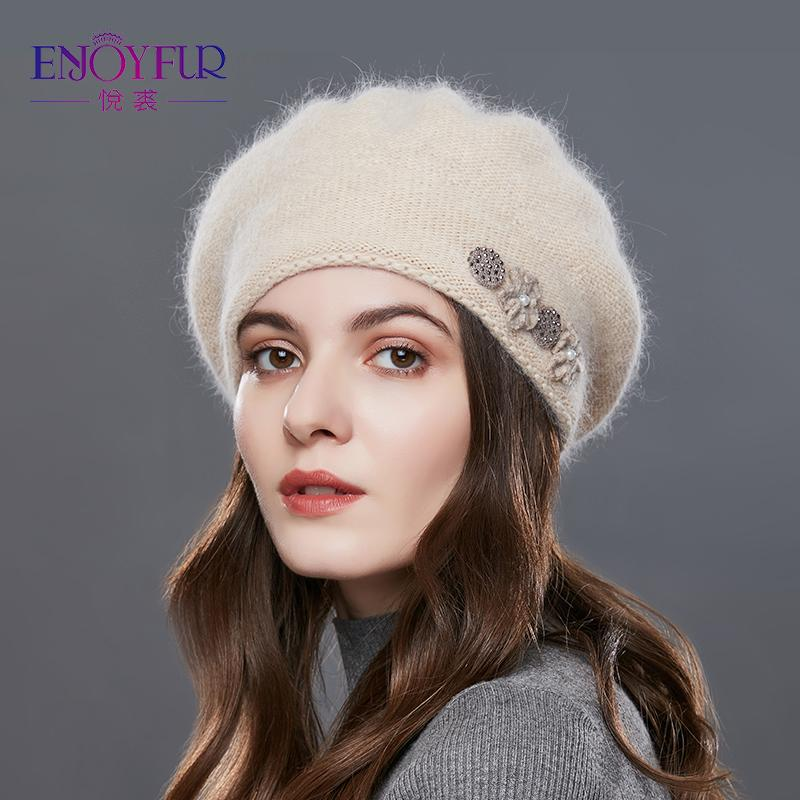 075225185b2 2019 ENJOYFUR Rabbit Knitted Winter Hats For Women Cashmere Warm Beret Hat  Female Flower Decoration Lady Middle Aged Cap 2017 Hat From Juemin