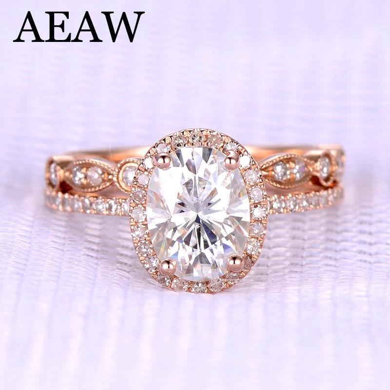 9900ef3b3f6 Acheter AEAW Oval Cut EngagementWedding Moissanite Diamant Bague Set Halo  Bague Véritable 10K   14K Or Rose Pour Femmes Test Postive S923 De  1505.63  Du ...