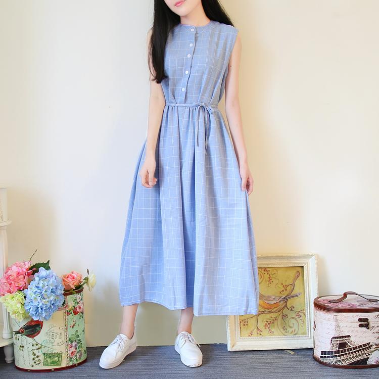 696ee92f11b7 Summer Dress 2018 New Women Sleeveless Cotton Long Dresses Tank Plaid Sundresses  Summer Dress Sundresses Long Dress Online with  18.29 Piece on ...