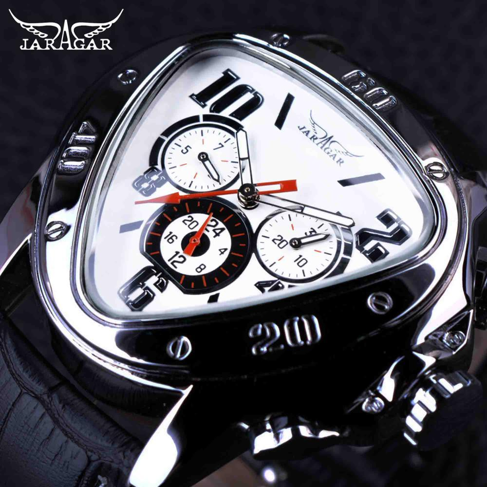 ed5df5869e6 JARAGAR Top Luxury Brand Mens Watches Men Triangle Shape Automatic  Mechanical Watches Auto Date Wristwatch Relogio Masculino SLZa46 Fine  Watches Latest ...