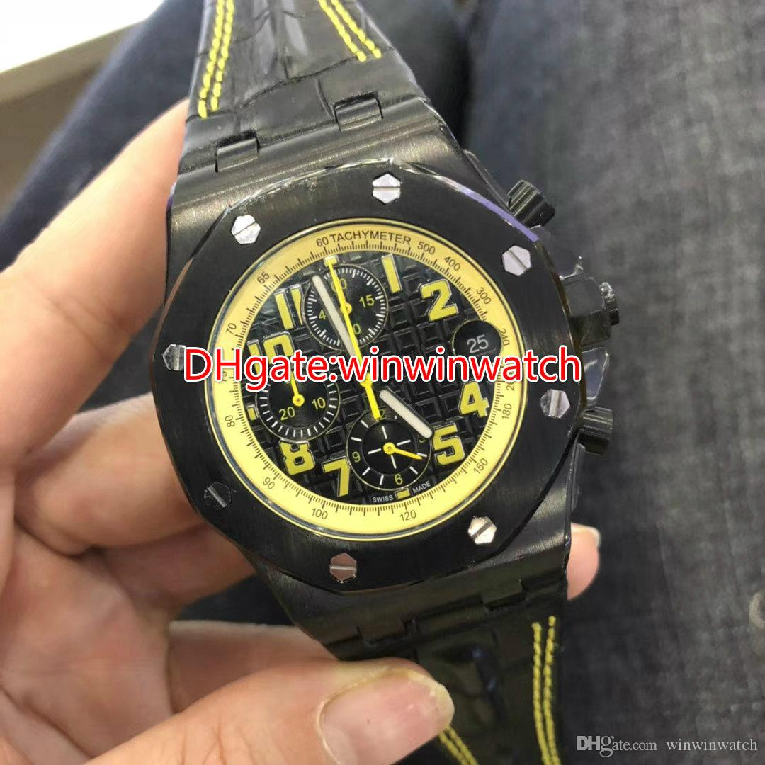 Black Quartz Mens Watch 42mm Chronograph Stopwatch Full Works Black Leather Strap Yellow Numbers Water Resistant Watches
