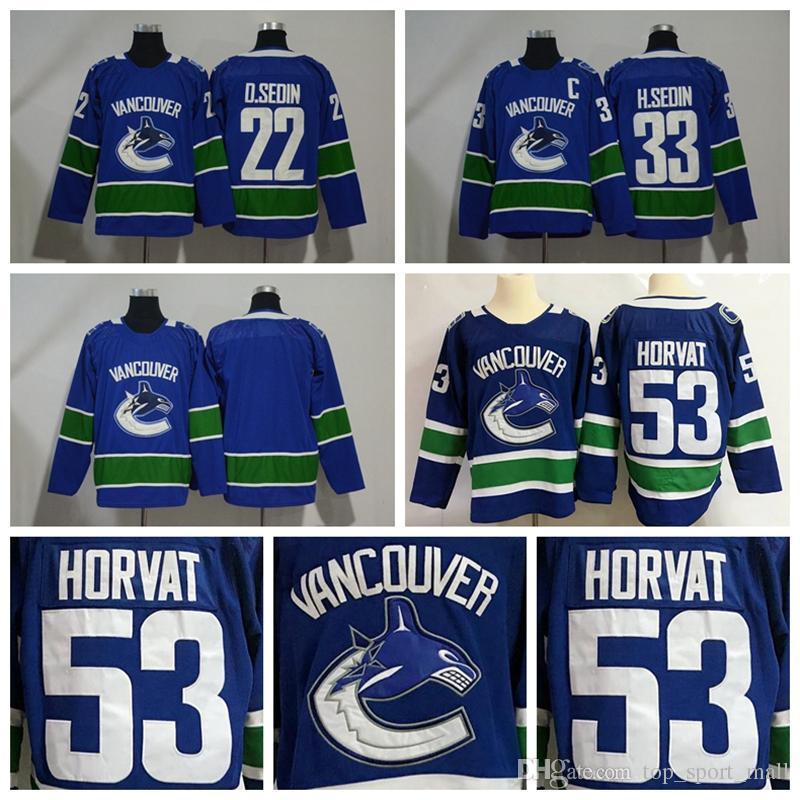 size 40 590aa b2c10 New Vancouver Canucks Jerseys Ice Hockey 53 Bo Horvat Jersey 22 Daniel  Sedin 33 Henrik Sedin Blue All Stitched Men Size S to 3XL