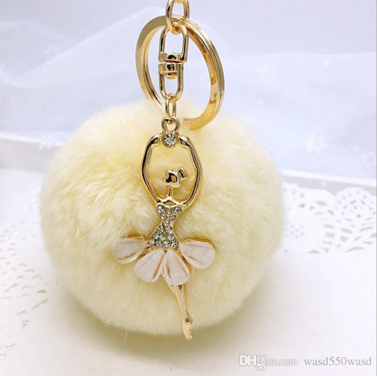 3.15 Inch Girl Women Fur Ball Rhinestone Ballerina Keychain Ballet Dancing  Girl Handbag Accessories Car Key Chain For Bag Designer Keyrings Monkey Fist  ... 44b38f8526