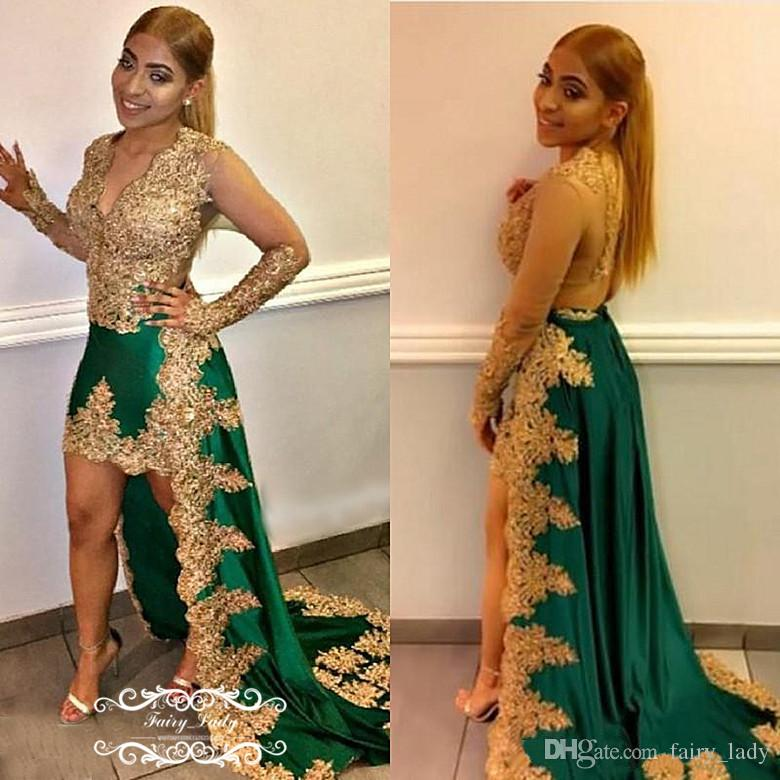 Chic Gold Appliques Lace High Low Prom Dresses 2018 Sheer Long Sleeves Deep V Neck Green Satin Beads Runway Celebrity Dress Party Gown