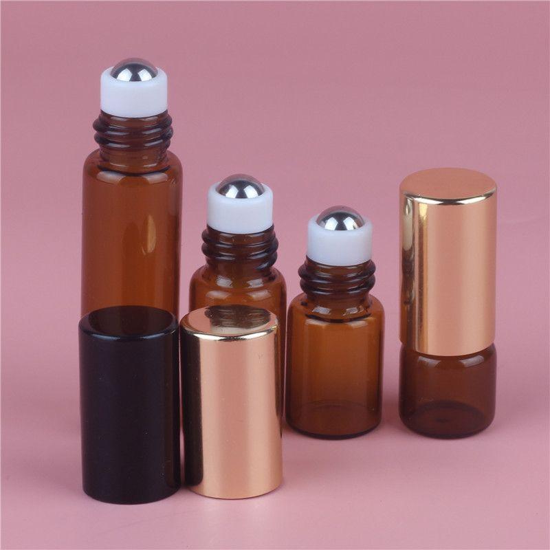 1 ml 2 ml 3 ml 5 ml 10 ml Ámbar Rollo de vidrio en la botella Aceite esencial vacío Perfume Rollon Tube Metal Roller Ball Botella oro Tapa Portátil de viaje