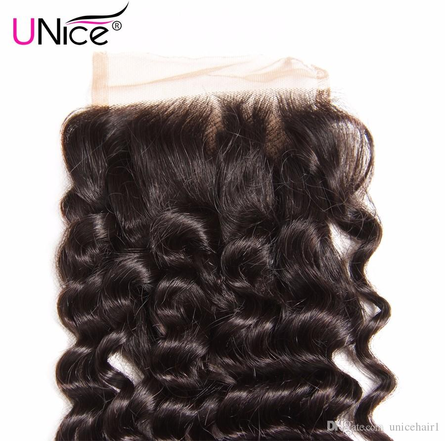 Unice Hair Indian Deep Wave Lace Closure 10-20 Inch Free Part 4x4 Swiss Lace Human Hair Closure Remy Hair Top Closure