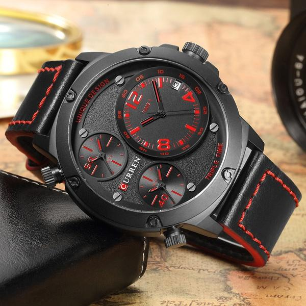 c6731287bbe0 Compre CURREN Reloj Para Hombre Reloj De Cuero Negro Con Tres Cuadrantes Para  Hombre Relojes Militares Reloj De Pulsera Para Hombre A  30.46 Del  Innumerable ...