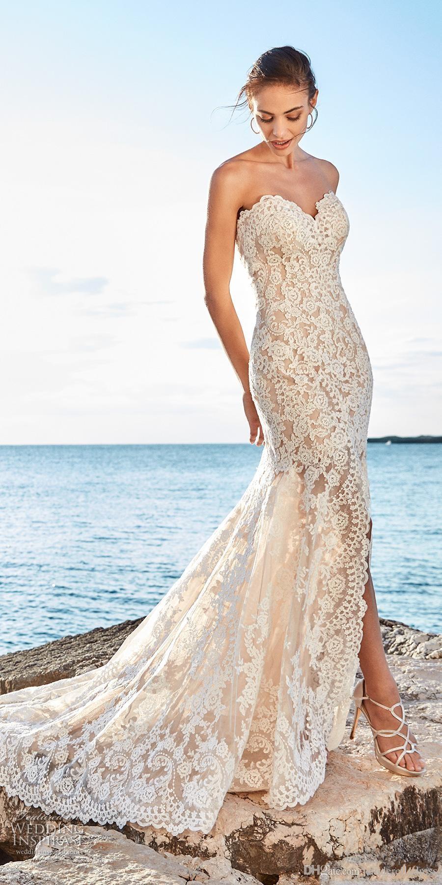 2018 Sexy Beach Mermaid Lace Wedding Dresses Sweetheart Slit Side Front Low Back Bridal Gowns Vestidos De Noiva