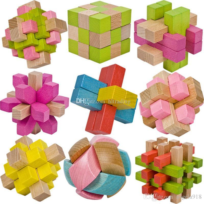 2018 new Classic 3D IQ Wooden Brain Puzzle toys Bamboo Interlocking Puzzles  Game 3D Kong Ming lock 10 styles C4445