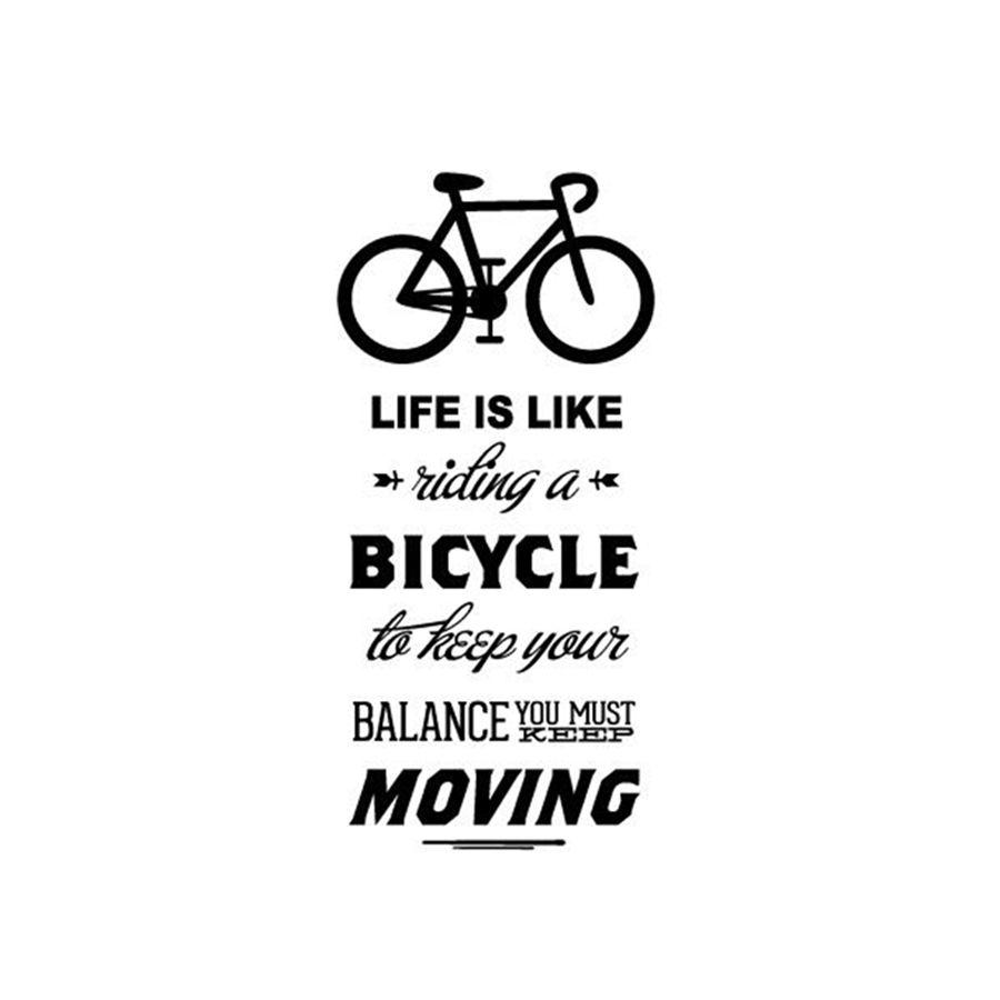 Decal Porcelain Life Is Like Riding A Bicycle Quote Bike Wall