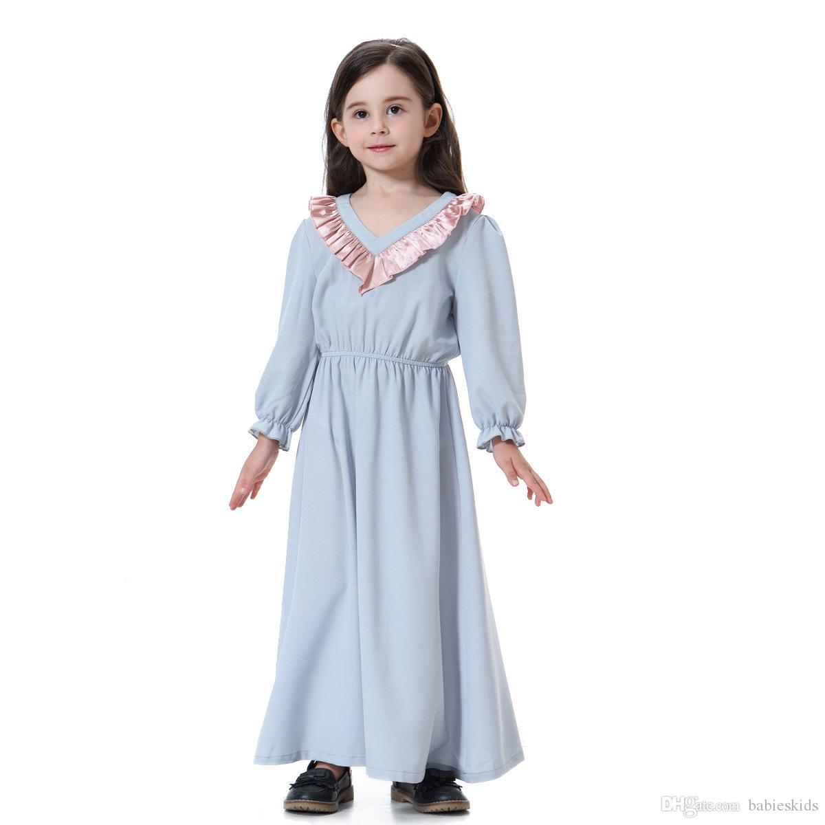 c0e3a5316435 2019 Muslim Kids Dress Fashion Child Dubai Abayas Islamic Ruffles Petal  Sleeve Islamic Traditional Kids Clothing Long Sleeve From Babieskids, ...