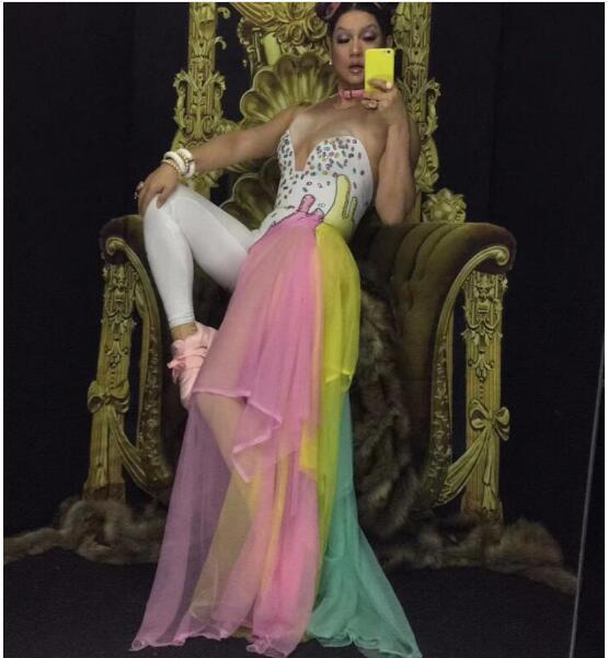 Colorful Bling Rhinestones Jumpsuit Stretch Leggings Mash Costume Female Singer Dance Stage Wear Nightclub Party Rompers