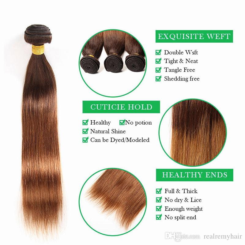Best Ombre Human Hair Weave Bundles with Closure 2 Tone Blonde 4/30 Ombre Brazilian Straight Human Hair Extensions with Lace Closure