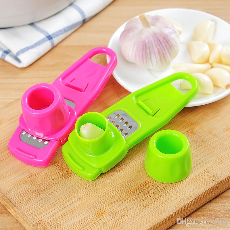 New Arrive Candy Color Garlic Press Multi-functional Grinding Garlic Mini Ginger Grinding Grater Planer Slicer Cutter Kitchen Tools