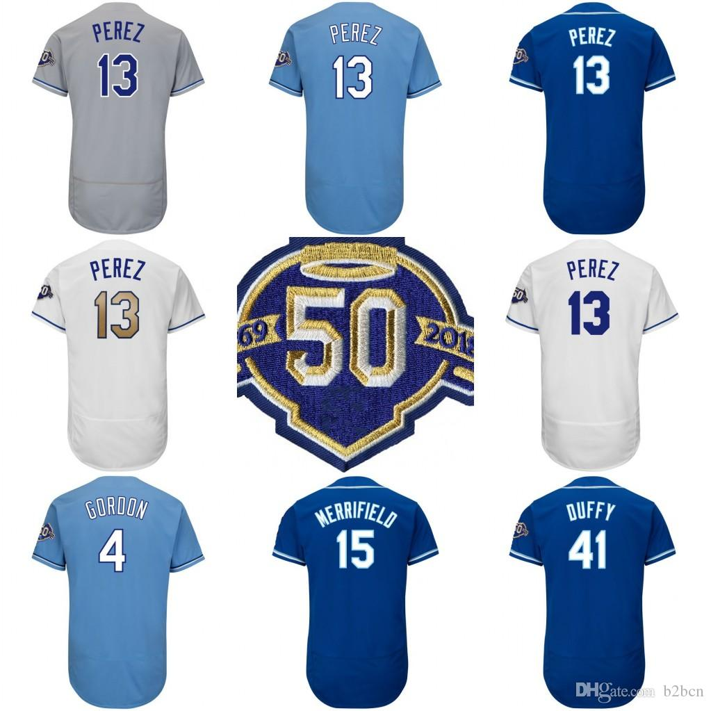 13 Salvador Perez Men Women Youth with 50th Patch Alex Gordon Mike ... 2aefb3033