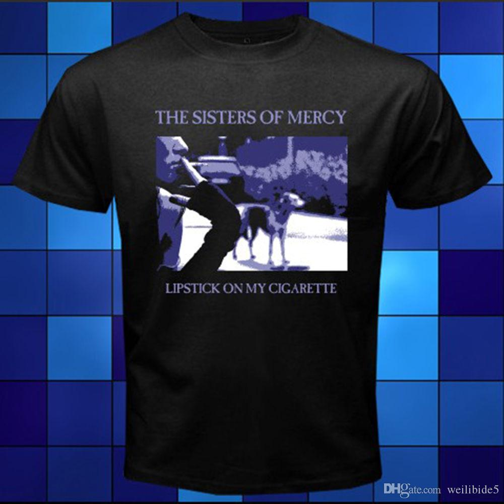 The Sister of Mercy Lipstick On My Cigarette Black T-Shirt Size S M L XL 2XL 3XL Fashion Short Sleeve Sale 100 % Cotton
