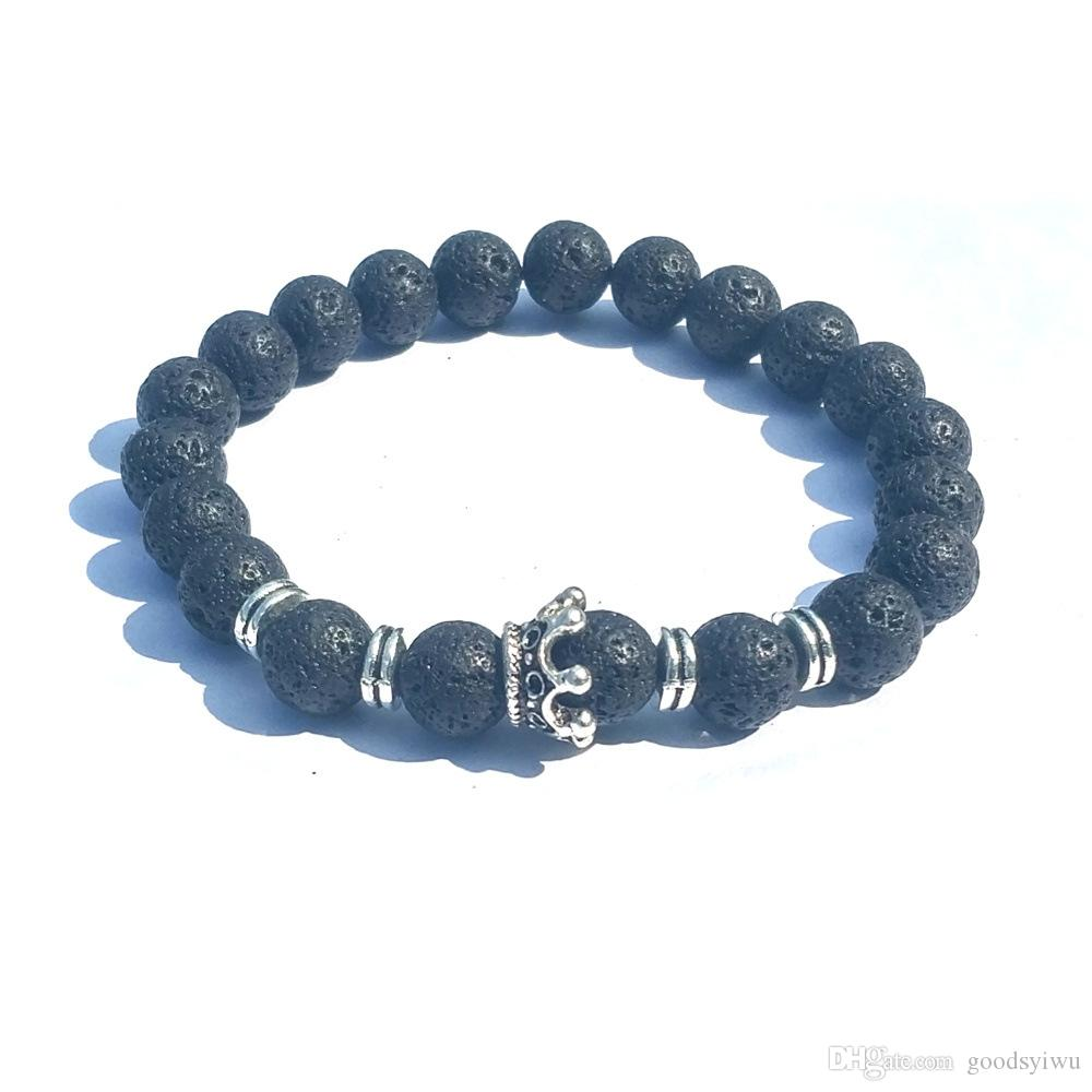 Classic Crown Charms 8mm Aromaterapia Black Lava Stone Volcanic Rock Pulsera Mujeres Essential Oil Difusor Strand Jewelr
