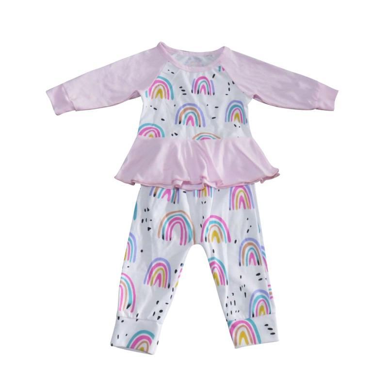 b89842540 2019 Baby Girl Kid Clothing Set Newborn T Shirt Rainbow Printed Peplum Dress+Pants  Trousers Outfit Set Princess Dress Pink From Friendhi, $34.26   DHgate.