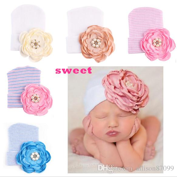 1afc0218194 2019 2018 Ins Baby Girl Beanies Newborn Hat Camellia Flower Beads Baby Knit  Hats Spring Autumn Winter Cheap Wholesale 0 3months From Allison87099