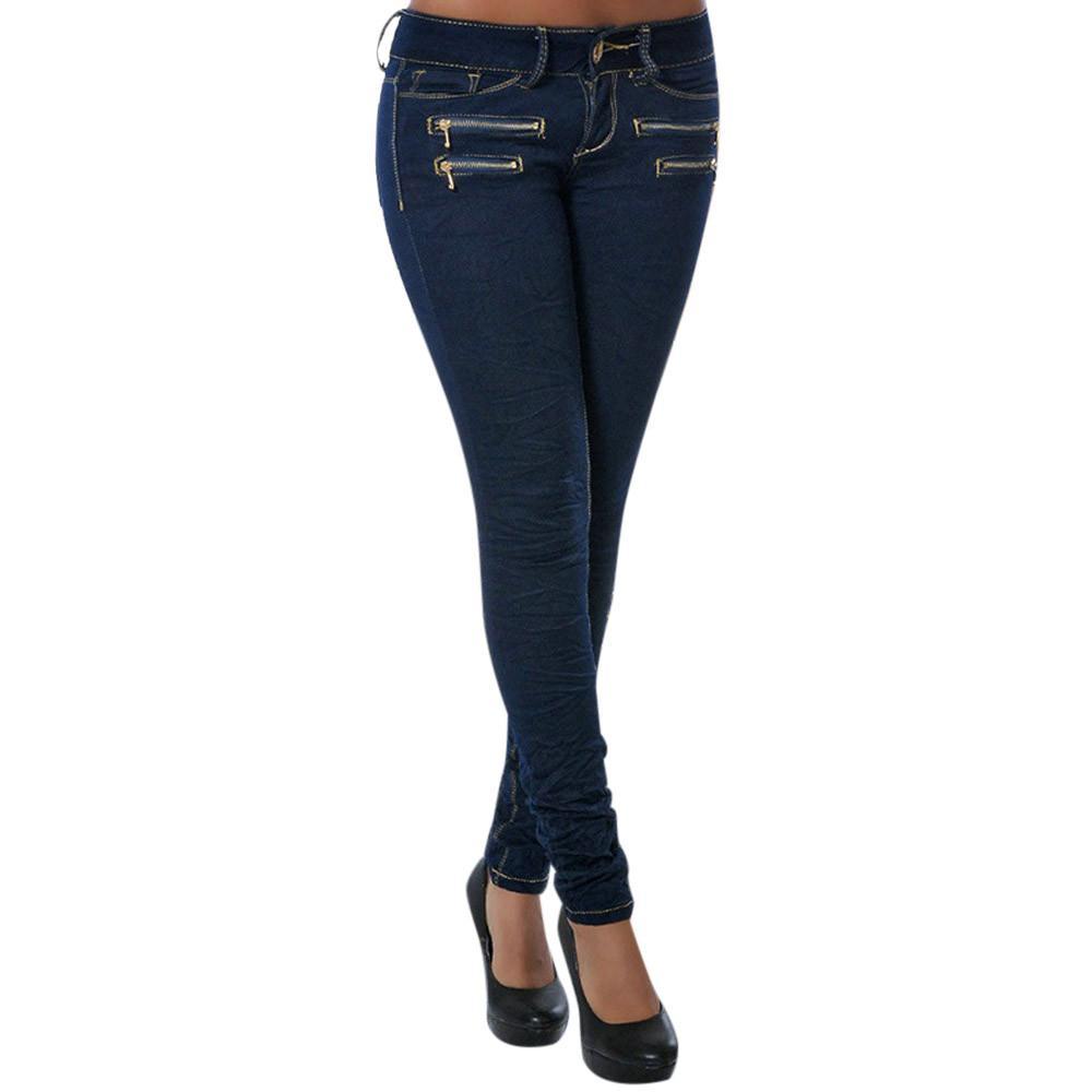a64675c326 Compre Estirar Los Pantalones Vaqueros Flacos Mujer Cintura Media  Cremallera Pantalones De Mezclilla Lápiz Delgado Lavado Azul Oscuro Mujer  Casual Señoras ...