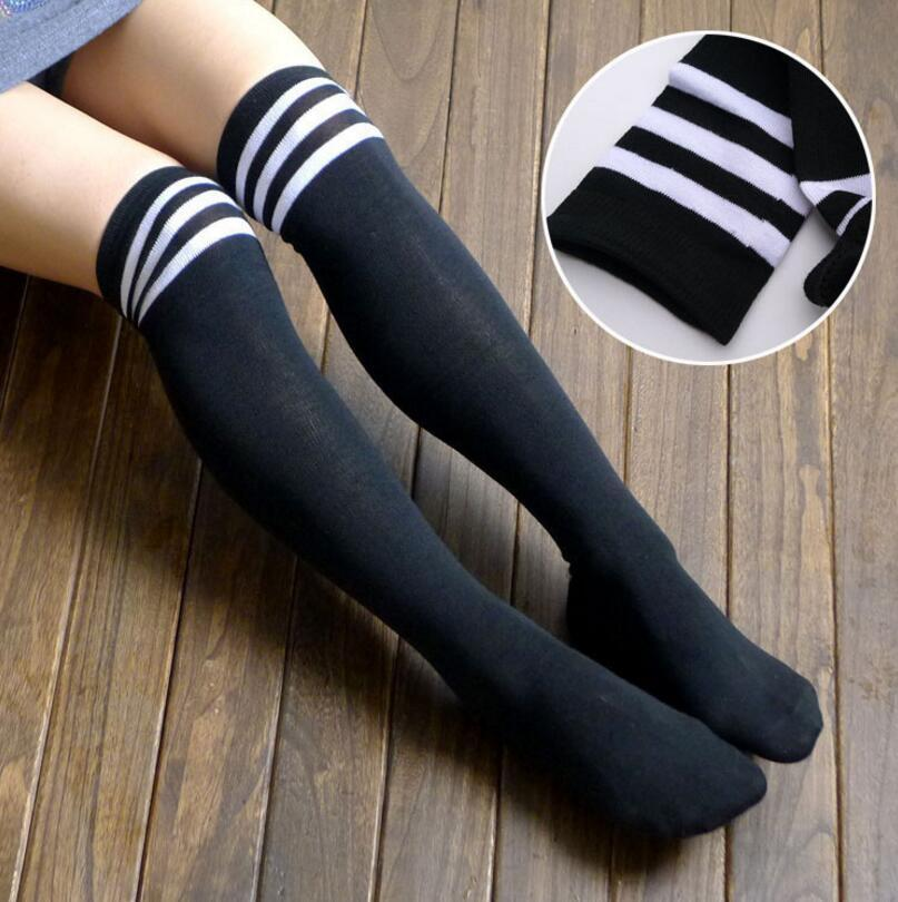 b232972644d 2019 Fashion Striped Knee Socks Women Cotton Stockings Thigh High Over Knee  Socks For Ladies Girls Warm Long Stocking Sexy Medias From Piaose