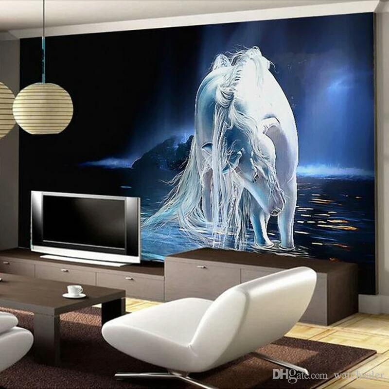 wonderful 3 D Wall Art Part - 10: Customized Any Size White Horse Wall Art Painting Photo 3D Wall Mural  Wallpaper For Living Room TV Background Bedroom Walls 3D Wallpaper Desktop  Images ...